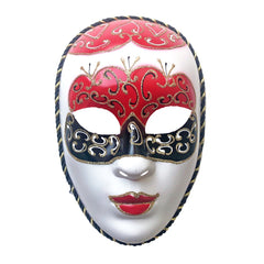 Red White and Black Volto Masquerade Mask