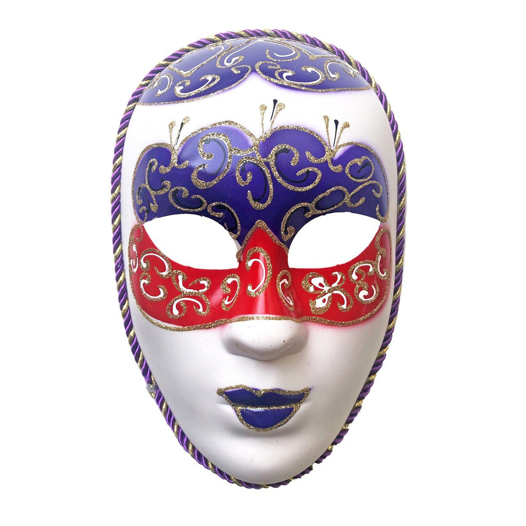 Blue Red and White Volto Masquerade Mask blue, fancy dress, full face, masks, masquerade, red, venetian, volto, white, womens