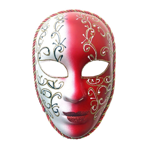 White and Red Volto Masquerade Mask With Gold Detail fancy dress, full face, masks, masquerade, red, venetian, volto, white, womens