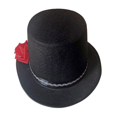 Top Hat - Black With Red Rose accessories, alice in wonderland, black, casino, costume, fancy dress, hats, magician, top hat, womens
