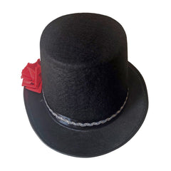 Top Hat - Black With Red Rose