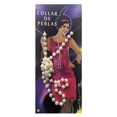 Long Faux Pearl Bead Necklace