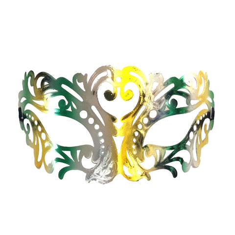 Jewel Tones Filigree Masquerade Mask with Green and Gold adult one size, fancy dress, gold, green, mardi gras, masks, masquerade, venetian, womens