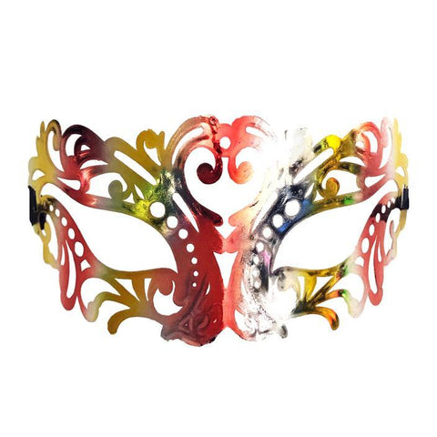 Jewel Tones Filigree Masquerade Mask with Red and Gold adult one size, fancy dress, gold, mardi gras, masks, masquerade, red, venetian, womens