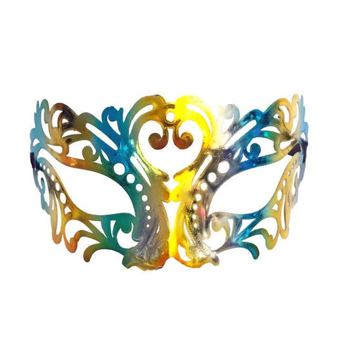 Jewel Tones Filigree Masquerade Mask with Blue and Gold adult one size, blue, fancy dress, gold, mardi gras, masks, masquerade, venetian, womens
