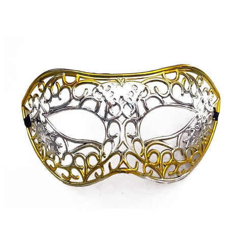 Silver Filigree Masquerade Mask with Gold adult one size, fancy dress, gold, mardi gras, masks, masquerade, silver, venetian, womens