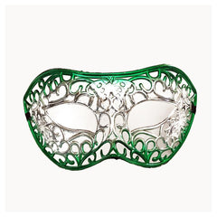 Silver Filigree Masquerade Mask with Green
