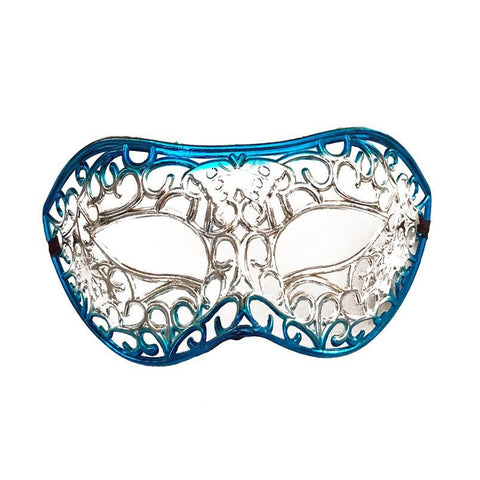 Silver Filigree Masquerade Mask with Blue adult one size, blue, fancy dress, mardi gras, masks, masquerade, silver, venetian, womens