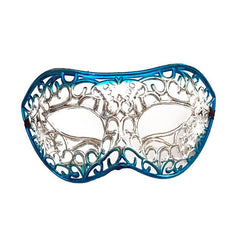 Silver Filigree Masquerade Mask with Blue