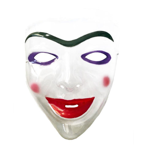 Smiling Womans Transparent Face Mask fancy dress, half masks, halloween, masks, scary, womens
