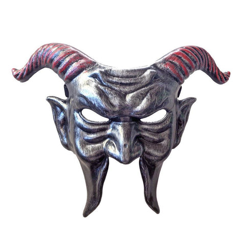 Red Horned Demon Halloween Mask demon, fancy dress, half masks, halloween, masks, mens, scary, silver