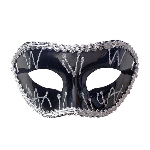 Black Venetian Masquerade Mask With Trim black, fancy dress, mardi gras, masks, masquerade, venetian, womens