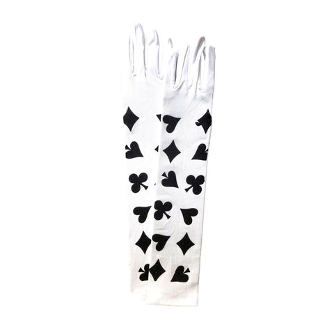 Alice In Wonderland Long Gloves In Nylon - White accessories, adult one size, alice in wonderland, bachelorette, casino, costume, fancy dress, gloves, magician, white, womens