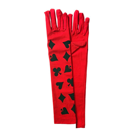 Alice In Wonderland Long Gloves In Nylon - Red accessories, adult one size, alice in wonderland, bachelorette, casino, costume, fancy dress, gloves, magician, red, womens