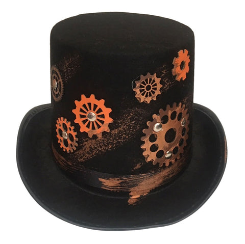 Adult Steam Punk Hat With Cogs accessories, black, costume, fancy dress, hats, mens, steam punk, steampunk, top hat, womens