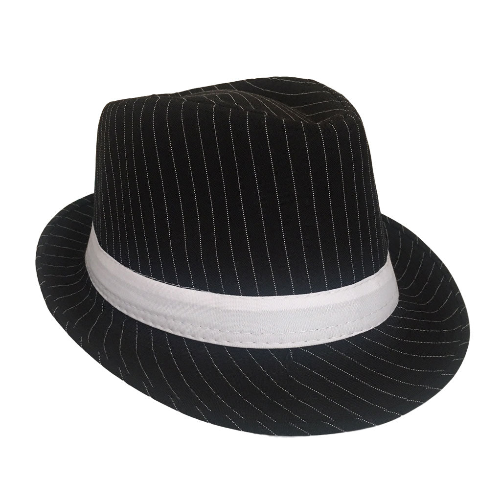 Mafia Hat With Pinstripe - Black 1920's, accessories, black, casino, costume, fancy dress, gangster, great gatsby, hats, maffia, mafia, mens, poker, womens