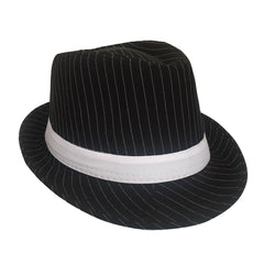 Mafia Hat With Pinstripe - Black