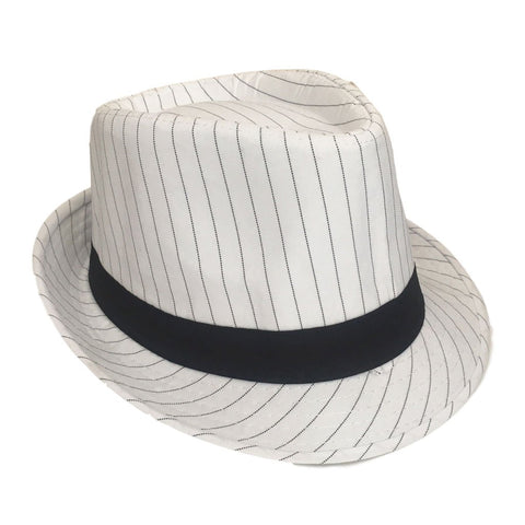 Mafia Hat With Pinstripe - White 1920's, accessories, black, casino, costume, fancy dress, gangster, great gatsby, hats, maffia, mafia, mens, poker, white, womens