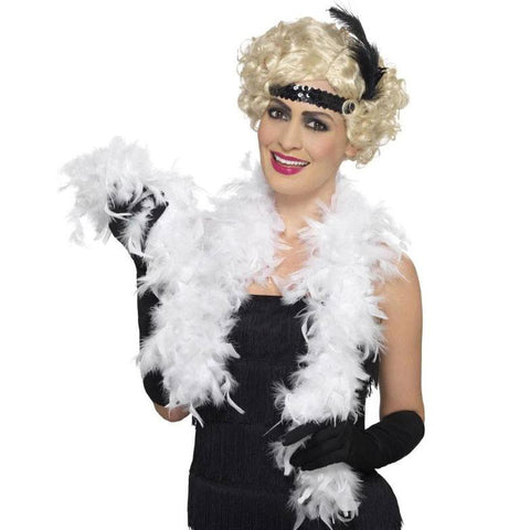 Feather Boa 2m - White 1920's, accessories, adult one size, bachelorette, burlesque, fancy dress, feather, feather boa, feathers, flapper, gangster, great gatsby, ladies, maffia, mafia, mardi gras, masquerade, white, womens