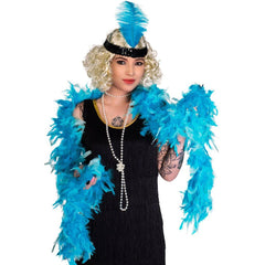 Feather Boa 2m - Turquoise 1920's, accessories, adult one size, bachelorette, blue, burlesque, fancy dress, feather, feather boa, feathers, flapper, gangster, great gatsby, ladies, maffia, mafia, mardi gras, masquerade, turquoise, womens