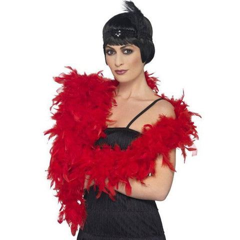 Feather Boa 2m - Red 1920's, accessories, adult one size, bachelorette, burlesque, fancy dress, feather, feather boa, feathers, flapper, gangster, great gatsby, ladies, maffia, mafia, mardi gras, masquerade, red, womens