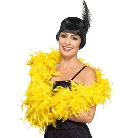 Feather Boa 2m - Yellow 1920's, accessories, adult one size, bachelorette, burlesque, fancy dress, feather, feather boa, feathers, flapper, gangster, great gatsby, ladies, maffia, mafia, mardi gras, masquerade, womens, yellow