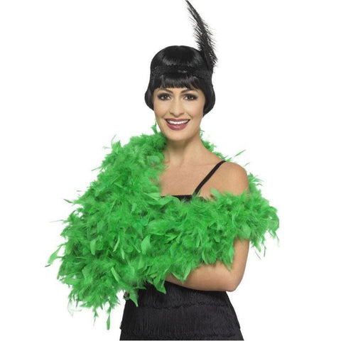 Feather Boa 2m - Green 1920's, accessories, adult one size, bachelorette, burlesque, fancy dress, feather, feather boa, feathers, flapper, gangster, great gatsby, green, ladies, maffia, mafia, mardi gras, masquerade, womens