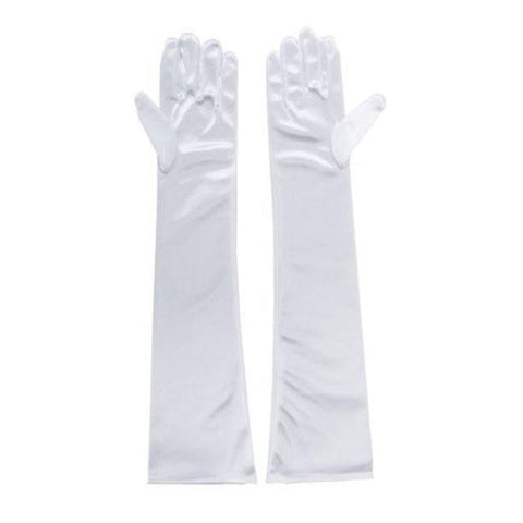 Long Gloves Satin Spandex - White 1920's, accessories, adult one size, alice in wonderland, childrens, costume, fancy dress, gloves, great gatsby, magician, phantom of the opera, white, womens