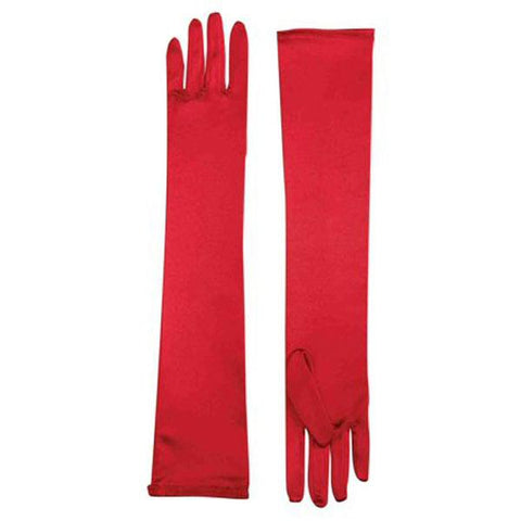 Long Gloves Satin Spandex - Red 1920's, accessories, adult one size, alice in wonderland, childrens, costume, fancy dress, gloves, great gatsby, magician, red, womens