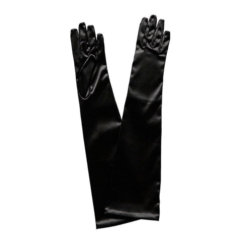 Long Gloves in Satin Spandex - Black 1920's, accessories, adult one size, alice in wonderland, black, childrens, costume, fancy dress, gloves, great gatsby, magician, phantom of the opera, womens