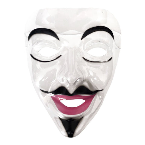 Smiling Mens Transparent Face Mask fancy dress, half masks, halloween, masks, mens, scary