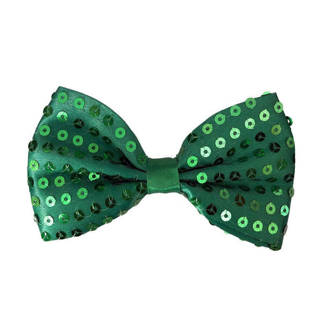 Sequin Bow Tie - Green 1920's, adult one size, alice in wonderland, bow tie, bow tie only, boys, casino, childrens, christmas, clown, costume, fancy dress, gangster, great gatsby, green, maffia, mafia, magician, mardi gras, mens, sequin, sequined