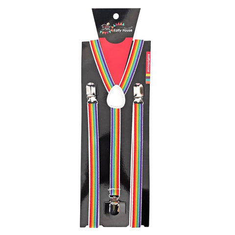 Suspenders - Multi Colour Rainbow 1980's, accessories, braces, clown, costume, fancy dress, magician, mens, multi-colour, rainbow, suspenders, womens