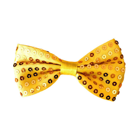 Sequin Bow Tie - Yellow / Gold 1920's, adult one size, alice in wonderland, bow tie, bow tie only, boys, casino, childrens, christmas, clown, costume, fancy dress, gangster, gold, great gatsby, maffia, mafia, magician, mardi gras, mens, sequin, sequined, yellow