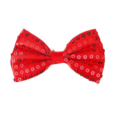 Sequin Bow Tie - Red 1920's, adult one size, alice in wonderland, bow tie, bow tie only, boys, casino, childrens, christmas, clown, costume, fancy dress, gangster, great gatsby, maffia, mafia, magician, mardi gras, mens, mickey mouse, red, sequin, sequined