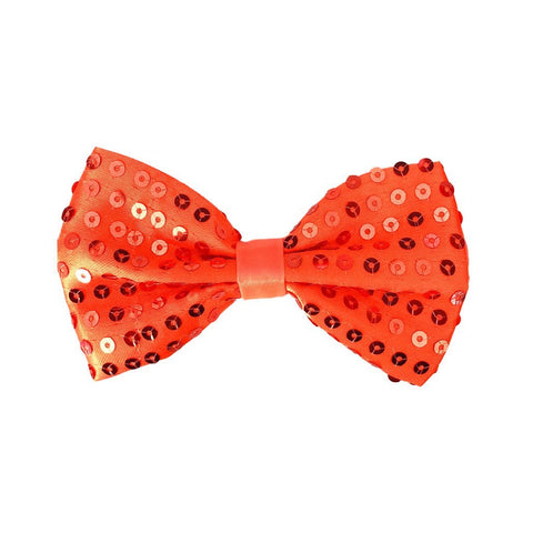 Sequin Bow Tie - Orange 1920's, adult one size, alice in wonderland, bow tie, bow tie only, boys, casino, childrens, clown, costume, fancy dress, gangster, great gatsby, maffia, mafia, magician, mardi gras, mens, orange, sequin, sequined