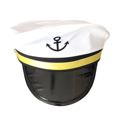 Anchor Captains Cap - White accessories, captain, costume, fancy dress, hats, mens, nautical, white, womens