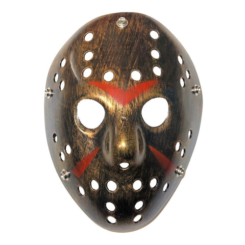 Hockey Mask - Gold With Black And Red adult one size, fancy dress, gold, half masks, halloween, jason voorhees, masks, scary, stock, villains