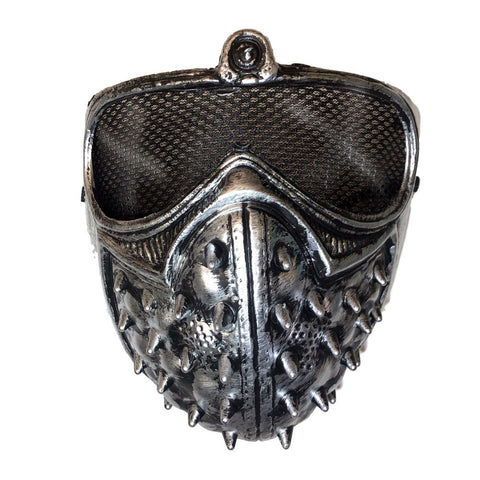 Silver Spiked Half Mask fancy dress, half masks, halloween, masks, mens, silver