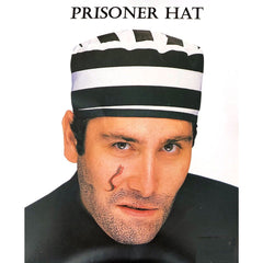 Black and White Striped Prison Hat