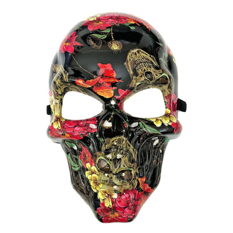 Hydro Dipped Flower Pattern Skull fancy dress, half masks, halloween, masks, mens, scary, skull