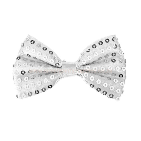 Sequin Bow Tie - Silver 1920's, adult one size, alice in wonderland, bow tie, bow tie only, boys, casino, childrens, christmas, clown, costume, fancy dress, gangster, great gatsby, maffia, mafia, magician, mardi gras, mens, mickey mouse, sequin, sequined, silver