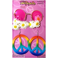 Hippie Peace Earrings And Pink Glasses