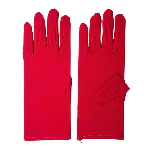 Economy Adult Short Gloves - Red 1920's, accessories, adult one size, alice in wonderland, childrens, costume, dr seuss, fancy dress, gloves, great gatsby, magician, mens, phantom of the opera, red, womens