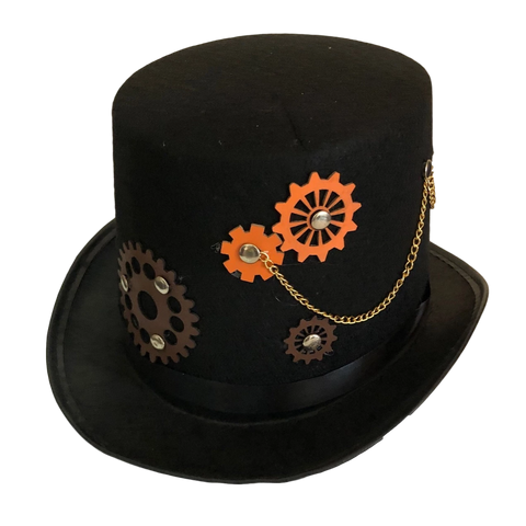 Adult Steam Punk Hat With Cogs and Chains accessories, black, costume, fancy dress, hats, mens, steam punk, steampunk, top hat, womens