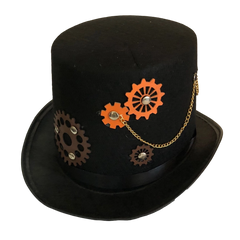 Adult Steam Punk Hat With Cogs and Chains
