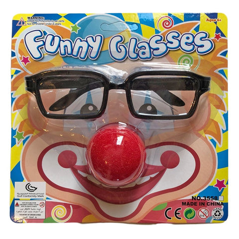 Clown Nose and Glasses Set accessories, adult, adult one size, boys, childrens, clown, costume, fancy dress, girls, glasses, mens, red, womens