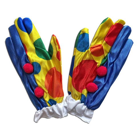 Clown Colourful Gloves With Pom Poms accessories, adult, adult one size, boys, childrens, clown, costume, fancy dress, girls, gloves, mens, womens