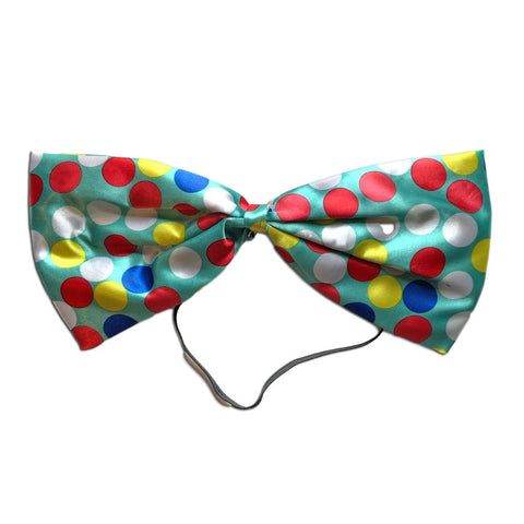 Clown Oversize Spotty Bow Tie - Teal Blue