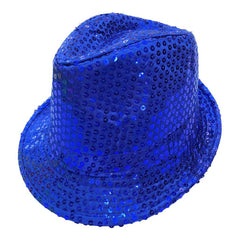 Sequined Neon Blue Mafia Hat